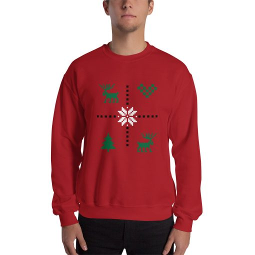 Christmas Red with Green Art - Sweatshirt - AwesomeGraphix.com - T-Shirts, Caps, Mugs, Baby Onesies, Wall Art and more!