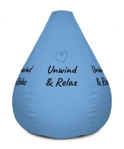Unwind & Relax - with heart drawing - Cool Blue Bean Bag Chair w/ filling - AwesomeGraphix.com - T-Shirts, Caps, Mugs, Baby Onesies, Wall Art and more!