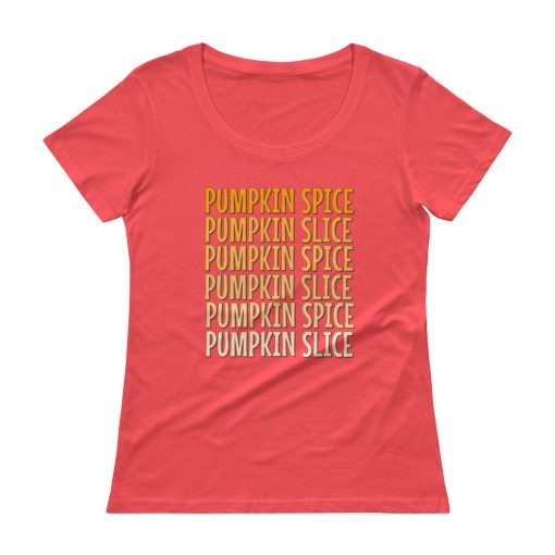 Pumpkin Spice Pumpkin Slice - Ladies' Scoopneck T-Shirt - AwesomeGraphix.com - T-Shirts, Caps, Mugs, Baby Onesies, Wall Art and more!