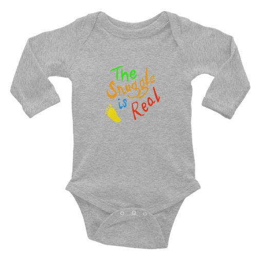 The Snuggle is real - funny - Infant Long Sleeve Bodysuit Onesie - AwesomeGraphix.com - T-Shirts, Caps, Mugs, Baby Onesies, Wall Art and more!