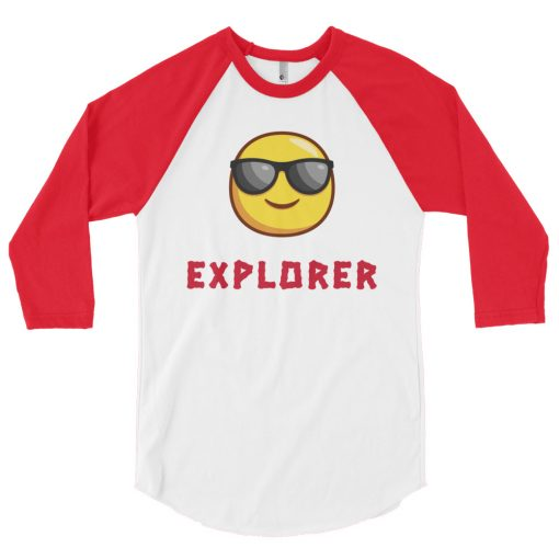 Explorer with cool sunglasses emoji - 3/4 sleeve raglan red and white shirt - AwesomeGraphix.com - T-Shirts, Caps, Mugs, Baby Onesies, Wall Art and more!