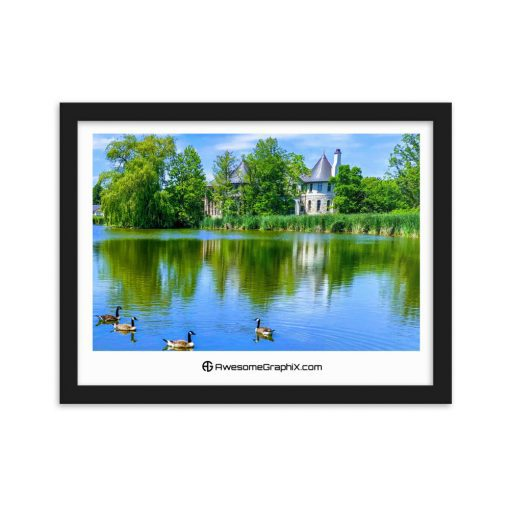 Castle by the lake with geese - Framed matte paper poster (30 cm x 40 cm) - AwesomeGraphix.com - T-Shirts, Caps, Mugs, Baby Onesies, Wall Art and more!