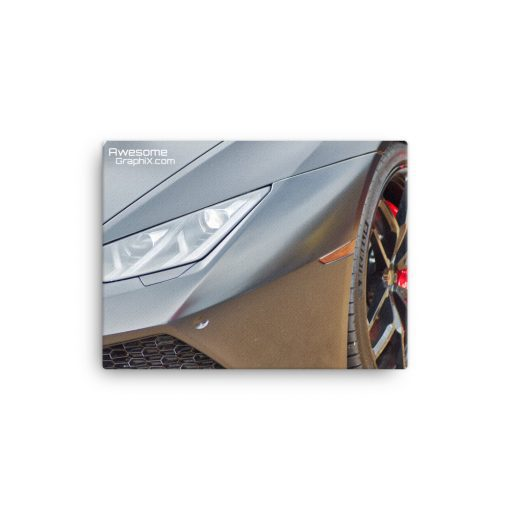 Lamborghini Zoom on Light and Front Grill - (various sizes) Canvas - AwesomeGraphix.com - T-Shirts, Caps, Mugs, Baby Onesies, Wall Art and more!