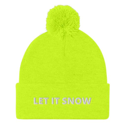 Let It Snow - Customizable - Pom-Pom Beanie - AwesomeGraphix.com - T-Shirts, Caps, Mugs, Baby Onesies, Wall Art and more!