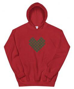 Christmas Themed Green Checkered Heart on a Red Unisex Hoodie - AwesomeGraphix.com - T-Shirts, Caps, Mugs, Baby Onesies, Wall Art and more!