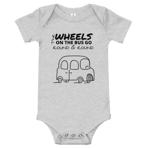 The Wheels on the Bus - Baby Onesie / Bodysuit - AwesomeGraphix.com - T-Shirts, Caps, Mugs, Baby Onesies, Wall Art and more!