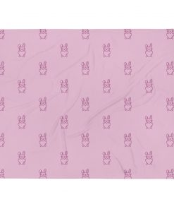 Bunny Holding Heart Pattern - Pink Throw Blanket - AwesomeGraphix.com - T-Shirts, Caps, Mugs, Baby Onesies, Wall Art and more!