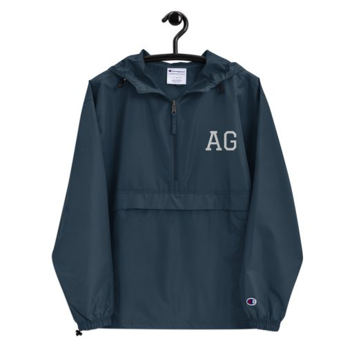 Customizable - 2 letters Initials Embroidered Champion Packable Jacket - AwesomeGraphix.com - T-Shirts, Caps, Mugs, Baby Onesies, Wall Art and more!
