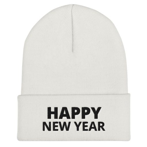 Happy New Year - Embroidered Cuffed Beanie - AwesomeGraphix.com - T-Shirts, Caps, Mugs, Baby Onesies, Wall Art and more!