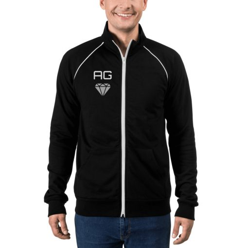 Diamond with Customizable Initials  & Name - Piped Fleece Jacket - AwesomeGraphix.com - T-Shirts, Caps, Mugs, Baby Onesies, Wall Art and more!