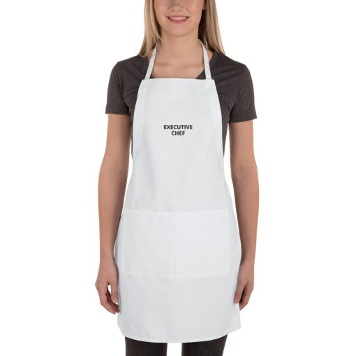 Executive Chef (Customizable Text) - Embroidered Apron - AwesomeGraphix.com - T-Shirts, Caps, Mugs, Baby Onesies, Wall Art and more!