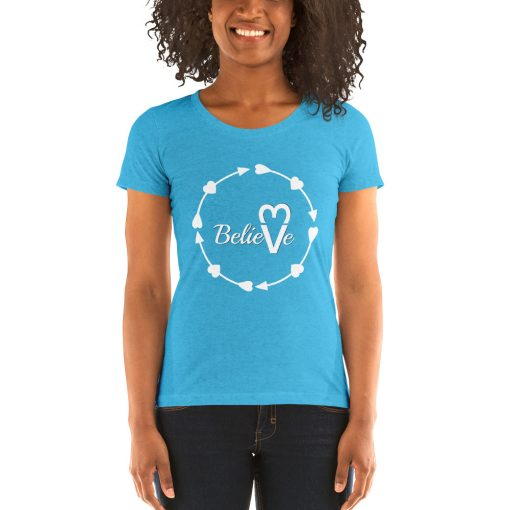 Valentines Day Believe in Love - Ladies' short sleeve t-shirt - AwesomeGraphix.com - T-Shirts, Caps, Mugs, Baby Onesies, Wall Art and more!