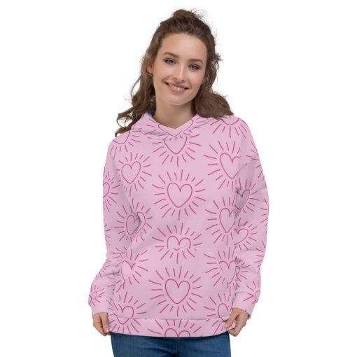 All-Over Bright Hearts - Pink Unisex Hoodie - AwesomeGraphix.com - T-Shirts, Caps, Mugs, Baby Onesies, Wall Art and more!