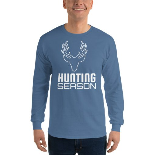 Hunting Season with Deer Head Outline - Men's Long Sleeve Shirt - AwesomeGraphix.com - T-Shirts, Caps, Mugs, Baby Onesies, Wall Art and more!