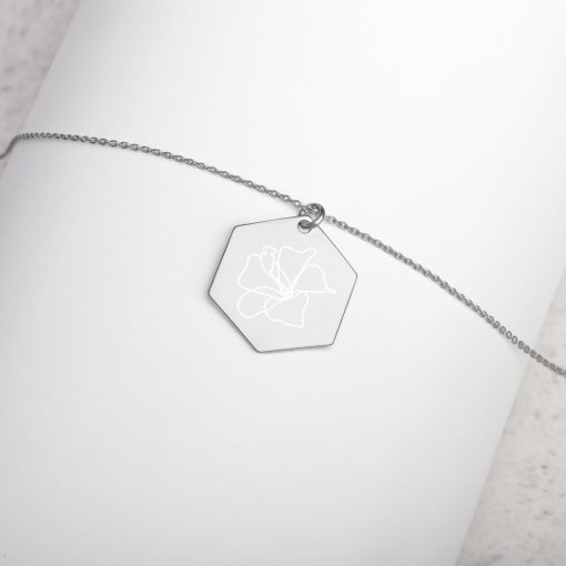 Hibiscus - Engraved Hexagon Necklace - AwesomeGraphix.com - T-Shirts, Caps, Mugs, Baby Onesies, Wall Art and more!