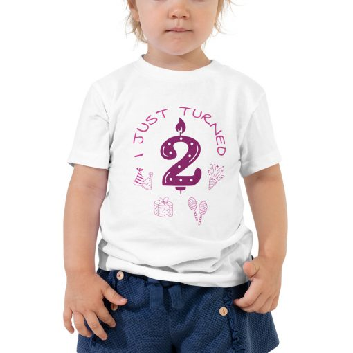 I just turned 2 - Birthday Celebration - Pink - Toddler Short Sleeve Tee - AwesomeGraphix.com - T-Shirts, Caps, Mugs, Baby Onesies, Wall Art and more!