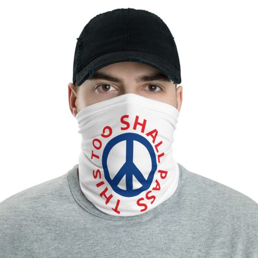 White Red and Blue - This too shall pass - Peace Sign - Face Mask - AwesomeGraphix.com - T-Shirts, Caps, Mugs, Baby Onesies, Wall Art and more!
