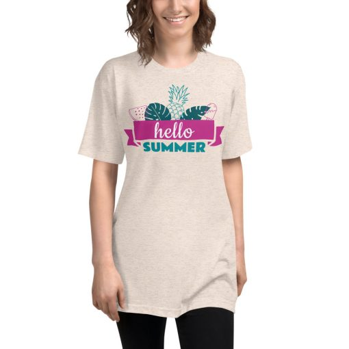 Hello Summer - Unisex Tri-Blend Track Shirt - AwesomeGraphix.com - T-Shirts, Caps, Mugs, Baby Onesies, Wall Art and more!
