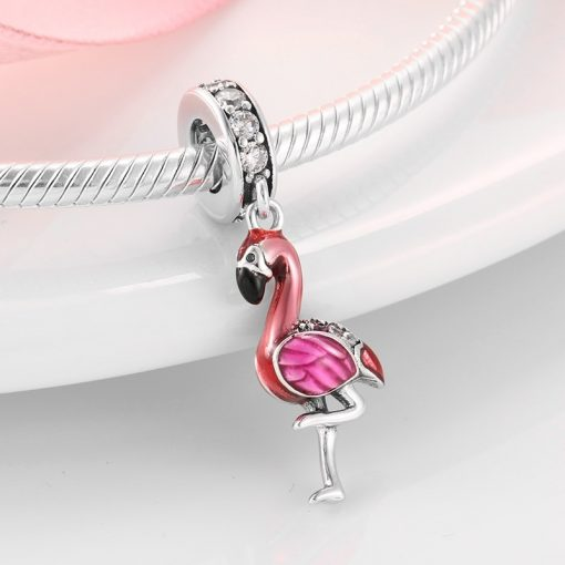 Women's Sterling Silver Flamingo Bracelet Charm - AwesomeGraphix.com - T-Shirts, Caps, Mugs, Baby Onesies, Wall Art and more!