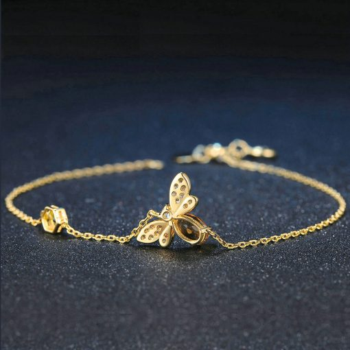 Elegant Citrine Bee Bracelet - AwesomeGraphix.com - T-Shirts, Caps, Mugs, Baby Onesies, Wall Art and more!