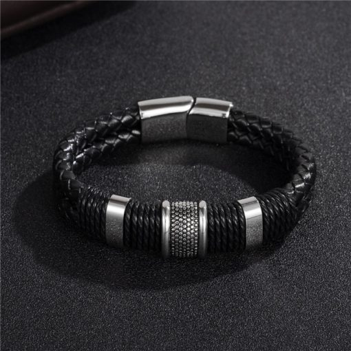 Men's Braided Leather Bracelet with Magnetic Clasp - AwesomeGraphix.com - T-Shirts, Caps, Mugs, Baby Onesies, Wall Art and more!