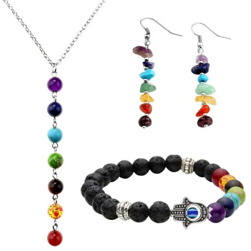 7 Chakra Bracelet, Necklace and Earrings Set - AwesomeGraphix.com - T-Shirts, Caps, Mugs, Baby Onesies, Wall Art and more!