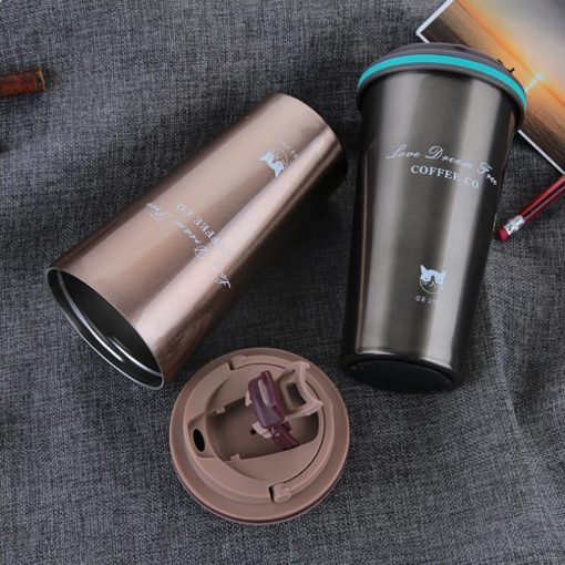 Street Coffee Thermos Mug With Lid - AwesomeGraphix.com - T-Shirts, Caps, Mugs, Baby Onesies, Wall Art and more!