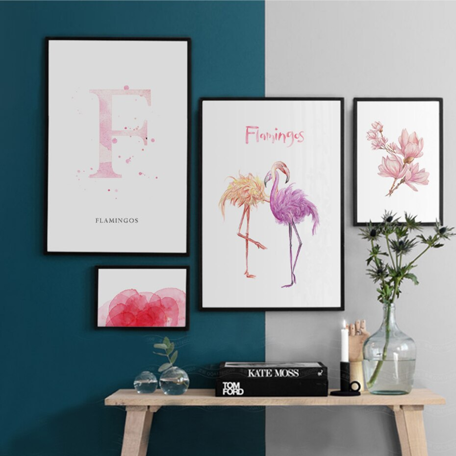 Pink Flower and Flamingo Wall Art