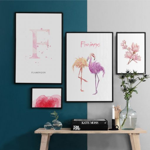 Pink Flower and Flamingo Wall Art - AwesomeGraphix.com - T-Shirts, Caps, Mugs, Baby Onesies, Wall Art and more!
