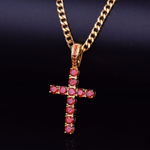 Men's Cross Shaped Diamond Pendant Necklace - AwesomeGraphix.com - T-Shirts, Caps, Mugs, Baby Onesies, Wall Art and more!