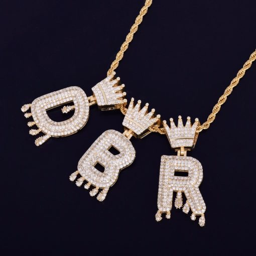 Crown Letters Shaped Pendant Necklace - AwesomeGraphix.com - T-Shirts, Caps, Mugs, Baby Onesies, Wall Art and more!