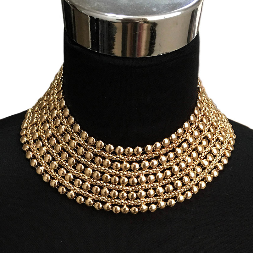 Metal Beads Maxi Necklace for Women