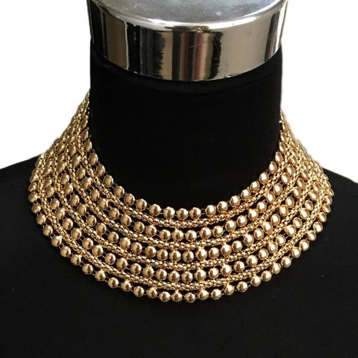 Metal Beads Maxi Necklace for Women - AwesomeGraphix.com - T-Shirts, Caps, Mugs, Baby Onesies, Wall Art and more!