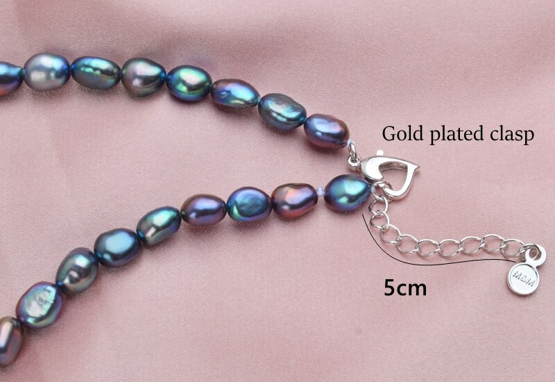 Black Natural Freshwater Pearl Choker Necklace for Women