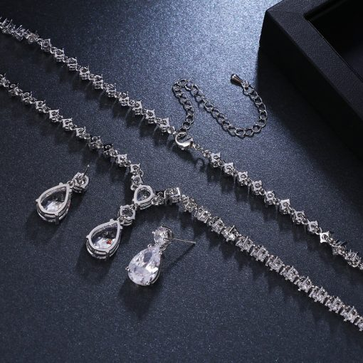 Minimalist Cubic Zirconia Women's Wedding Earrings / Necklace Set - AwesomeGraphix.com - T-Shirts, Caps, Mugs, Baby Onesies, Wall Art and more!