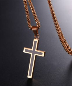 Enamel Cross Design Steel Men's Pendant Necklace - AwesomeGraphix.com - T-Shirts, Caps, Mugs, Baby Onesies, Wall Art and more!