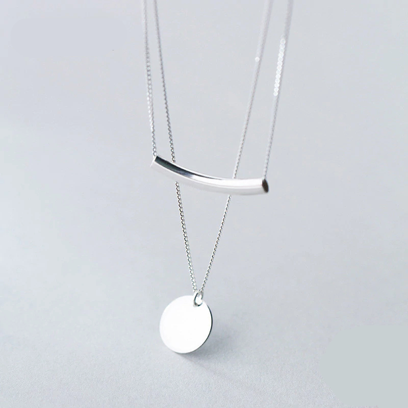 Simple Style Silver Layer Chain Necklace for Women