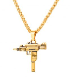 Uzi Gun Design Steel Men's Pendant Necklace - AwesomeGraphix.com - T-Shirts, Caps, Mugs, Baby Onesies, Wall Art and more!