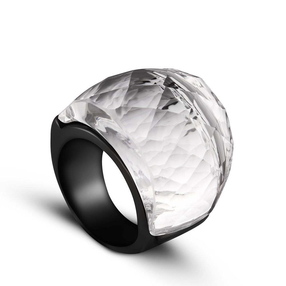 Maxi Black / Clear Crystal Ring for Women