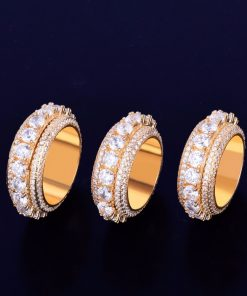 Men's Crystal Gold Plated Ring - AwesomeGraphix.com - T-Shirts, Caps, Mugs, Baby Onesies, Wall Art and more!