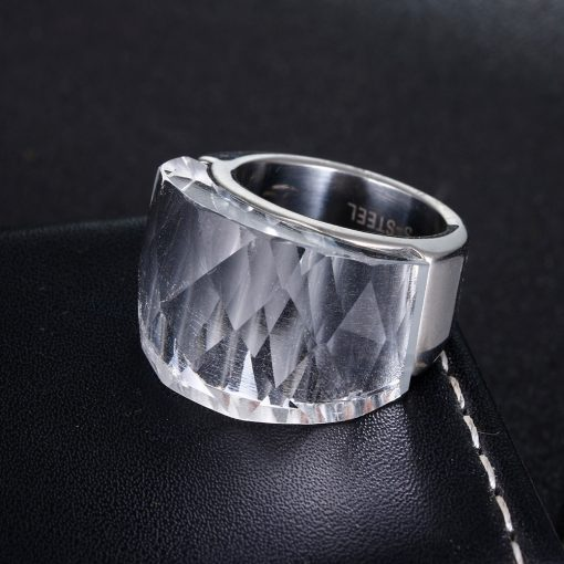 Women's Faceted Clean Glass Maxi Ring - AwesomeGraphix.com - T-Shirts, Caps, Mugs, Baby Onesies, Wall Art and more!