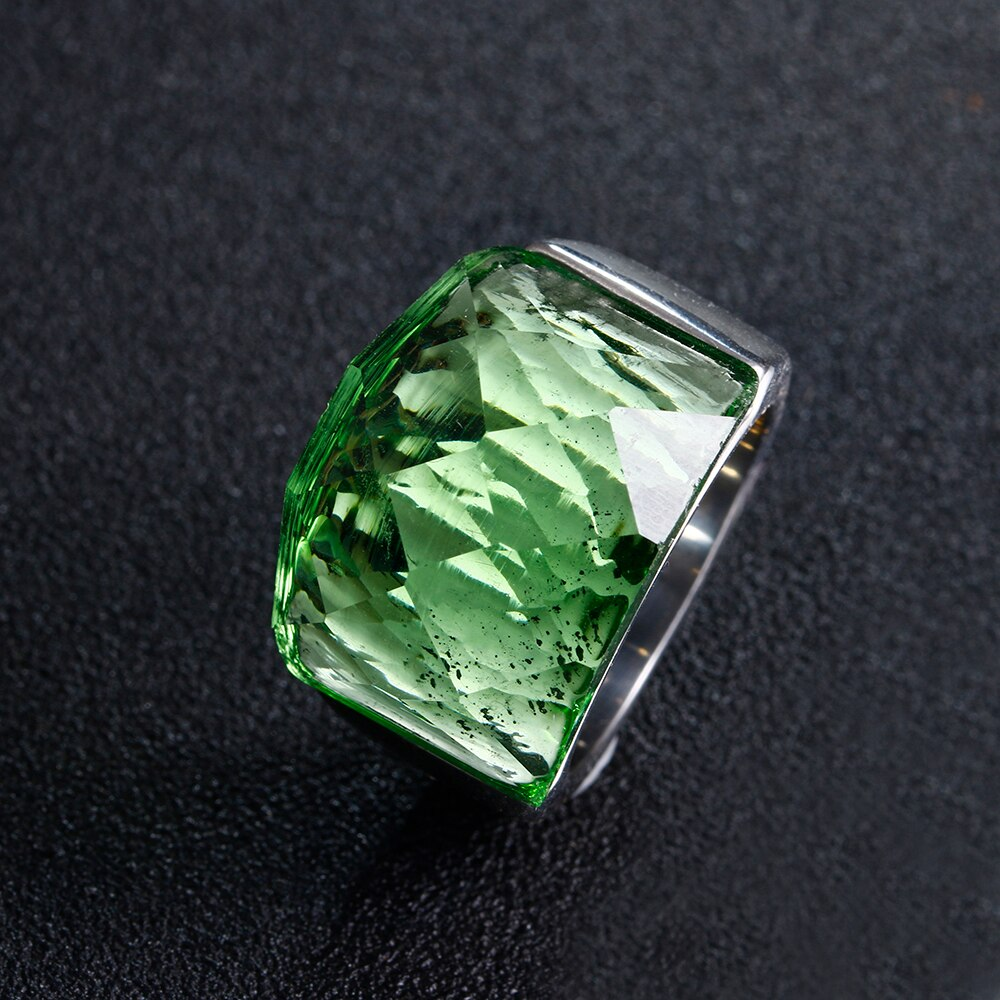 Women's Faceted Clean Glass Maxi Ring
