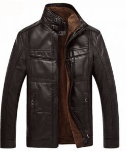 Winter Leather Jacket For Men - AwesomeGraphix.com - T-Shirts, Caps, Mugs, Baby Onesies, Wall Art and more!