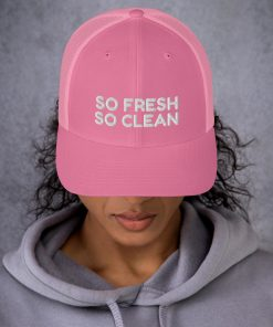 So Fresh So Clean - Embroidered - Pink or Blue Trucker Cap - AwesomeGraphix.com - T-Shirts, Caps, Mugs, Baby Onesies, Wall Art and more!