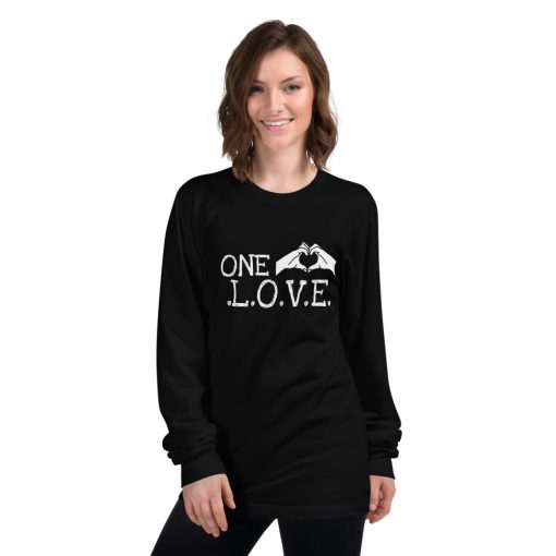 One Love Hand Heart Long sleeve t-shirt - AwesomeGraphix.com - T-Shirts, Caps, Mugs, Baby Onesies, Wall Art and more!