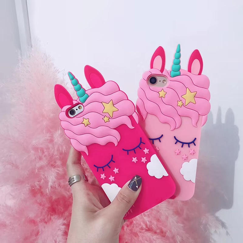 3D Cartoon Unicorn Soft Silicone Case for iPhone