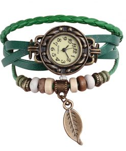 Vintage Dress Watch with Genuine Leather Bracelet - AwesomeGraphix.com - T-Shirts, Caps, Mugs, Baby Onesies, Wall Art and more!