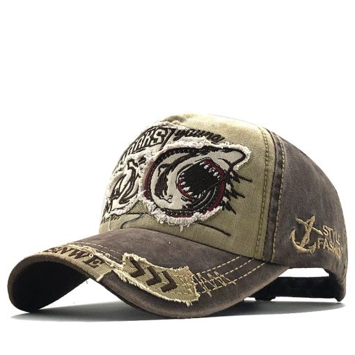 Men's Shark Embroidered Baseball Cap - AwesomeGraphix.com - T-Shirts, Caps, Mugs, Baby Onesies, Wall Art and more!